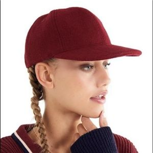 Urban Outfitters Baseball Hat Red Wine Wool Felt